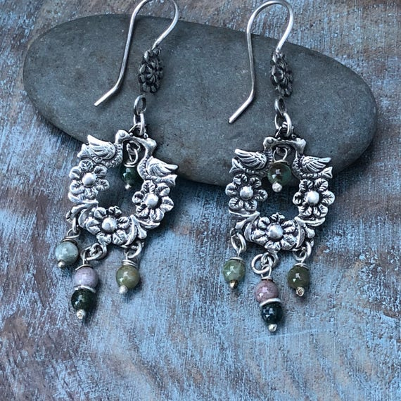 Beautiful sterling and mixed agate gem Frida Kahlo inspired earrings