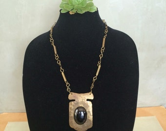 1970's handmade brass  and black glass statement necklace