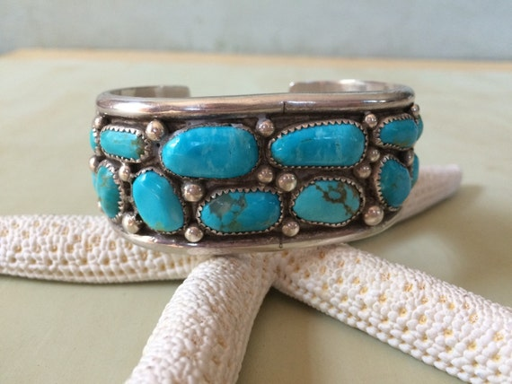 Superb easter blue turquoise and sterling cuff