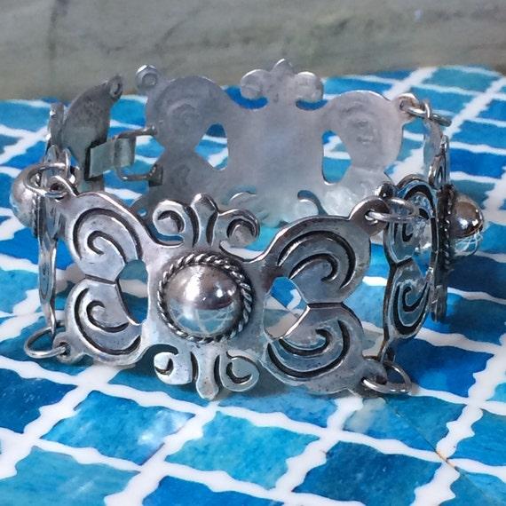 "Vintage Silver Mexican panel link bracelet 8.25"" long"