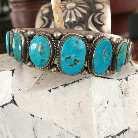 Vintage heavy turquoise and sterling Navajo cuff