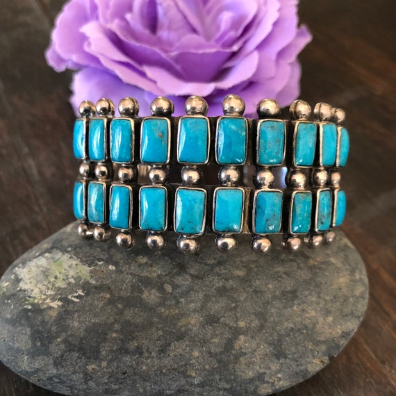 Vintage Zuni 2 row natural turquoise and sterling cuff bracelet