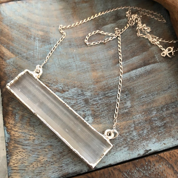 Sterling and selenite crystal necklace