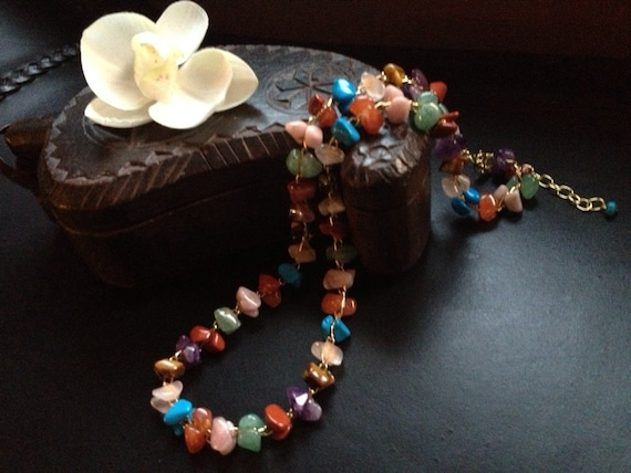 Semi precious handmade stone necklace