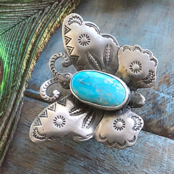 Sterling turquoise Navajo butterfly ring size 8