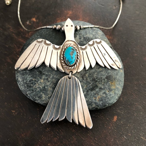 Beautiful vintage sterling Navajo peyote bird necklace with Kingman turquoise