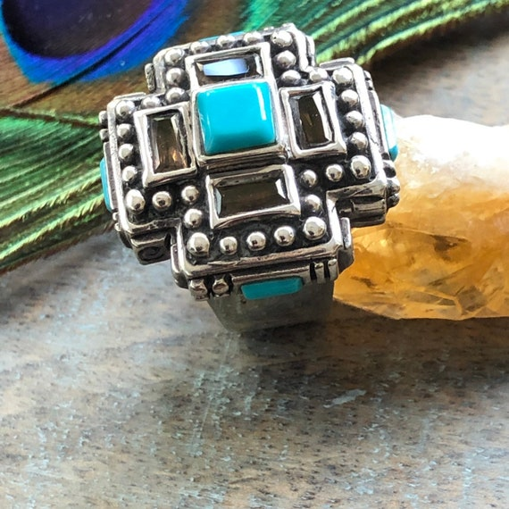 Sterling smokey Quartz turquoise statement ring size 6.5