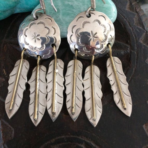 Vintage sterling and brass Taxco feather dangle earrings
