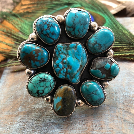 Beautiful turquoise sterling ring adjustable in size currently 7.5