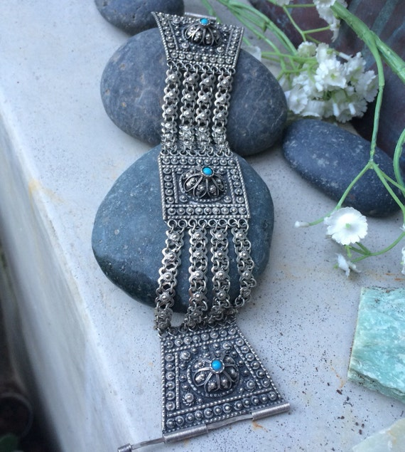 Antique middle eastern entruscan cannetille bracelet 935 silver glass beads