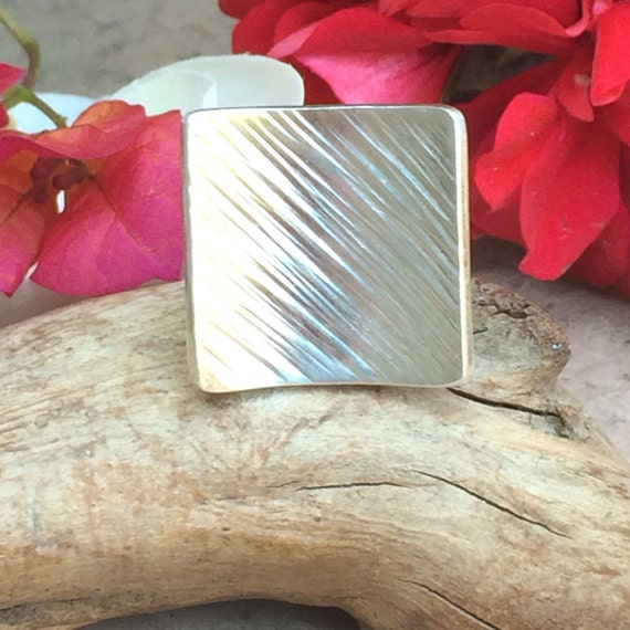 Modernist silver square ring size 8.5
