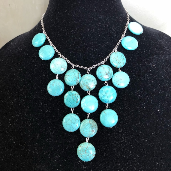 Turquoise howlite and silver bib necklace