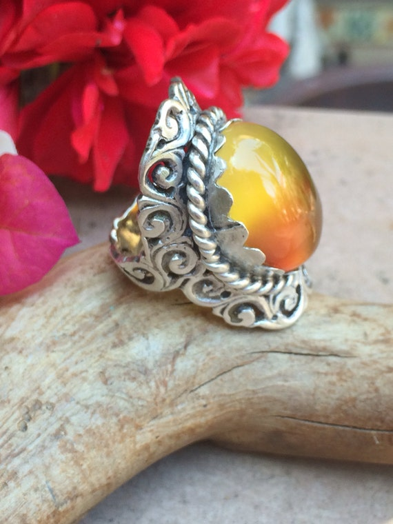 Beautiful handmade sterling and carnelian Saddle ring size 7
