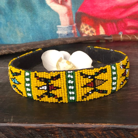 Handmade African seed beaded headband
