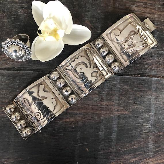 Vintage Mexican storyteller panel bracelet
