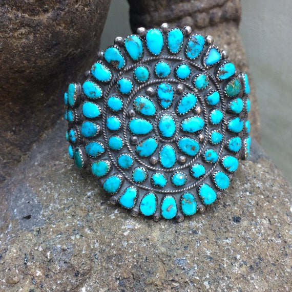 Vintage 1940's Zuni petit point cluster cuff with exceptional blue gem turquoise