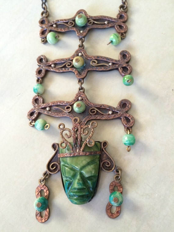 Immense Mayan copper brass and jade articulating bib necklace
