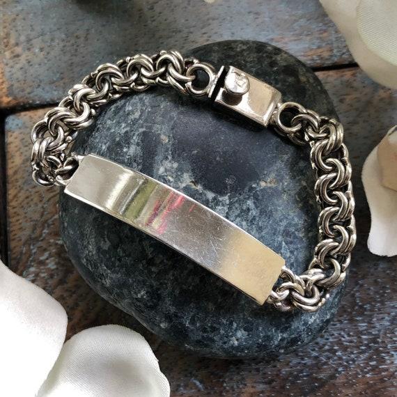 "Vintage sterling I.D Chain Bracelet small wrist 6.25"""