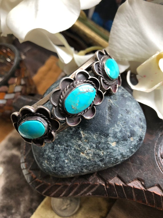 Vintage Turquoise Sterling Navajo cuff