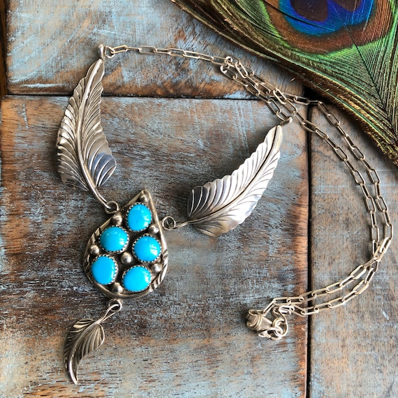 Vintage Navajo Sterling turquoise cluster feather necklace