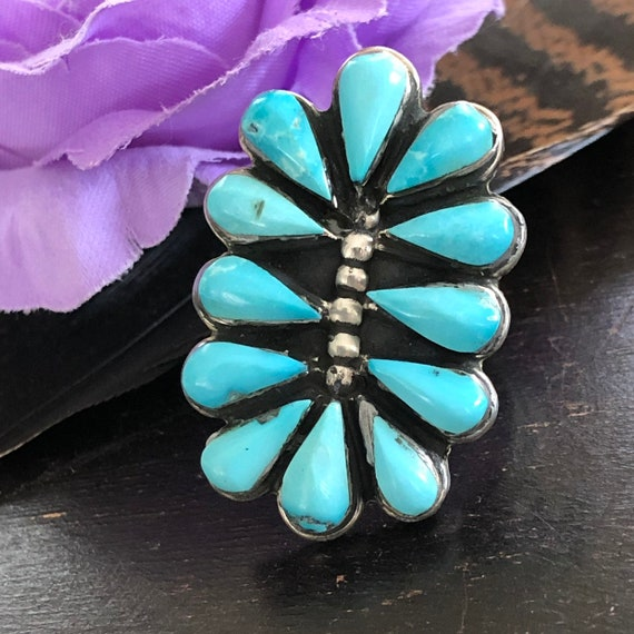 Gorgeous vintage turquoise sterling cluster ring size 7