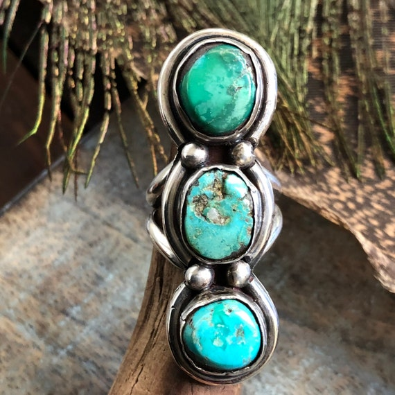 Vintage sterling turquoise 3 stone ring Navajo