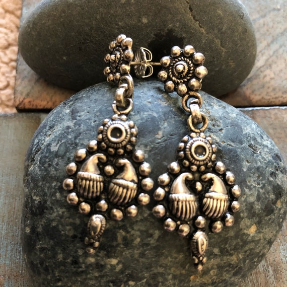 Vintage sterling tribal handmade earrings