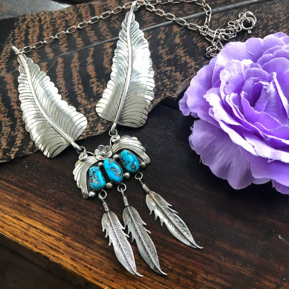 Navajo Sterling and kingman turquoise feather necklace
