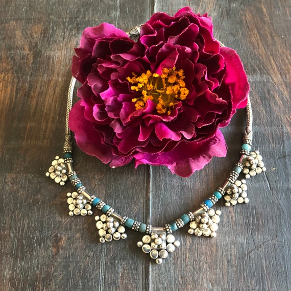 Vintage heavy sterling beaded tribal choker necklace