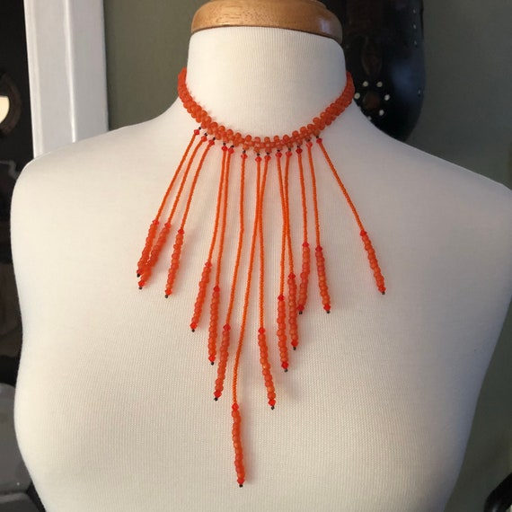 Organic inspired handmade beaded choker bib necklace