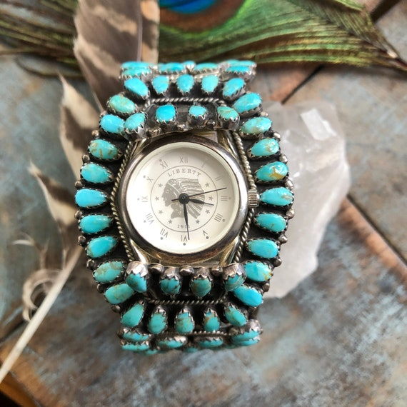 Vintage Turquoise sterling petit point watch cuff