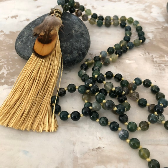 Hand knotted moss snow agate 6mm 108 bead  mala yoga meditation necklace with gold tassel and feathers