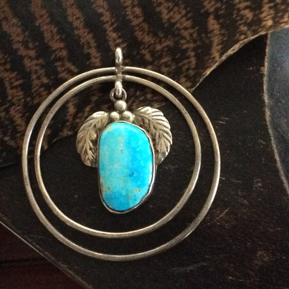 Beautiful handmade Navajo turquoise sterling pendant from the 60's