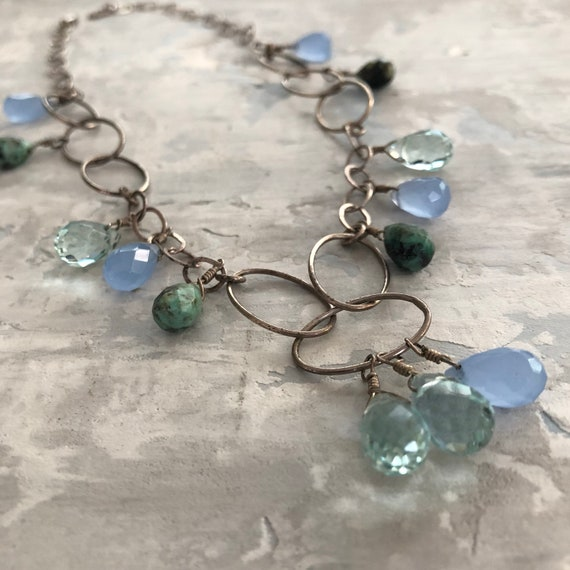 Sterling and crystal necklace african turquoise topaz chalcedony briolettes
