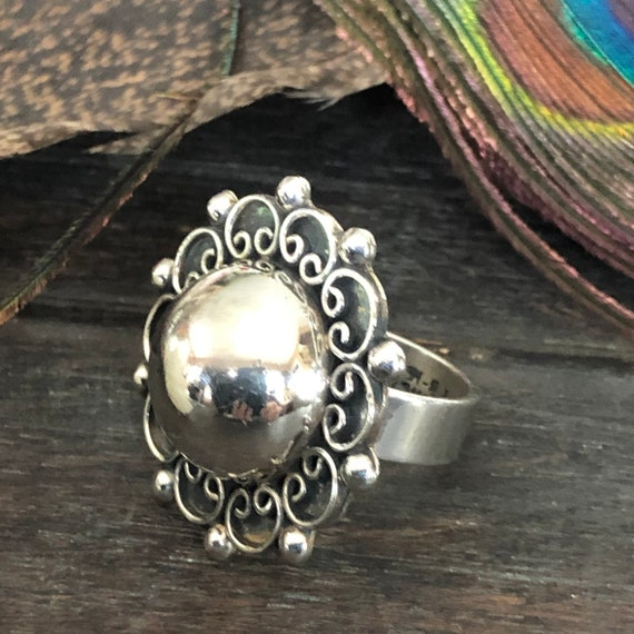 Vintage sterling tribal Taxco statement ring size 8.5