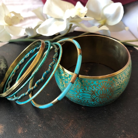 Brass and enamel stack bangles size 8""