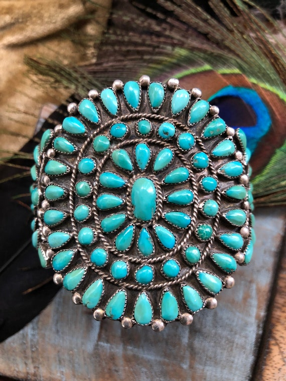 Vintage navajo petit point turquoise cluster cuff