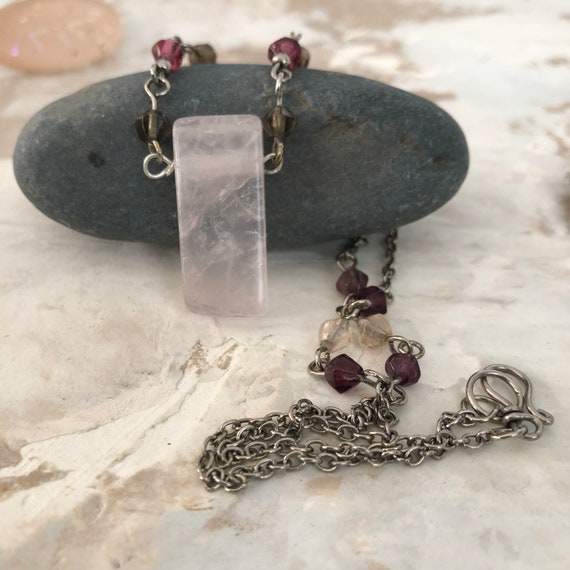 Rose quartz and crystal necklace