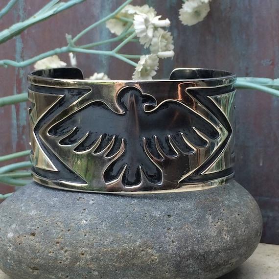 Sterling  Hopi thunderbird cuff bracelet