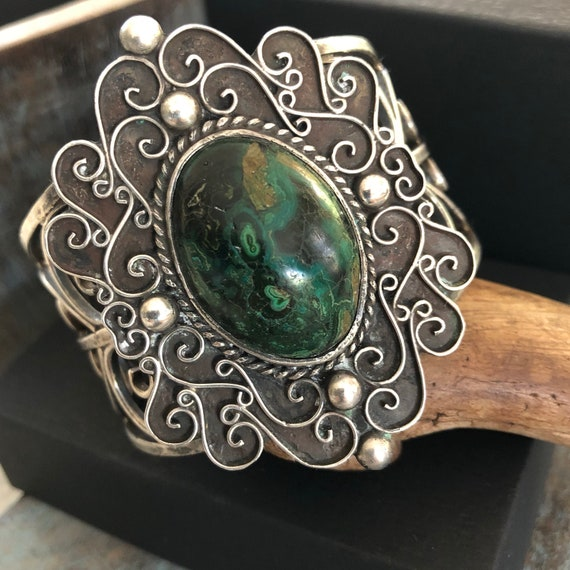 Vintage sterling and Kambaba Jasper Mexican cuff bracelet