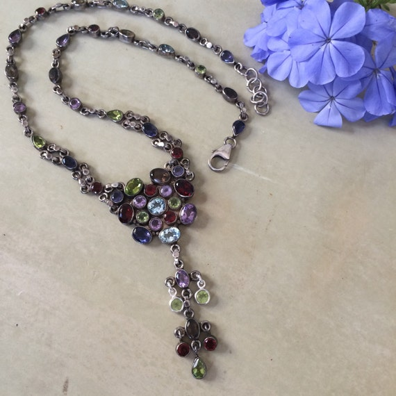 Stunning sterling and mixed gem  necklace