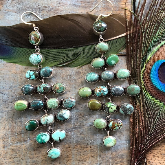 Exquisite turquoise and sterling chandelier earrings