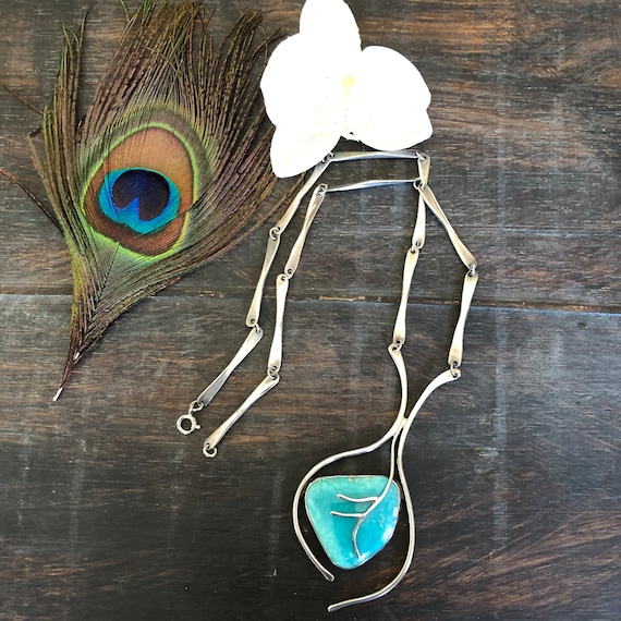 Beautiful sterling and turquoise handmade modern organic looking necklace