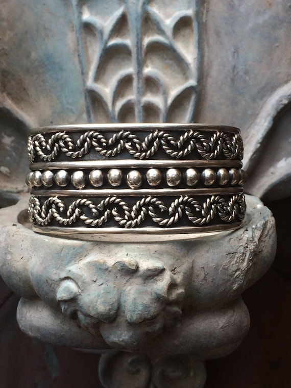 Gorgeous vintage Taxco Sterling bead  rope cuff bracelet