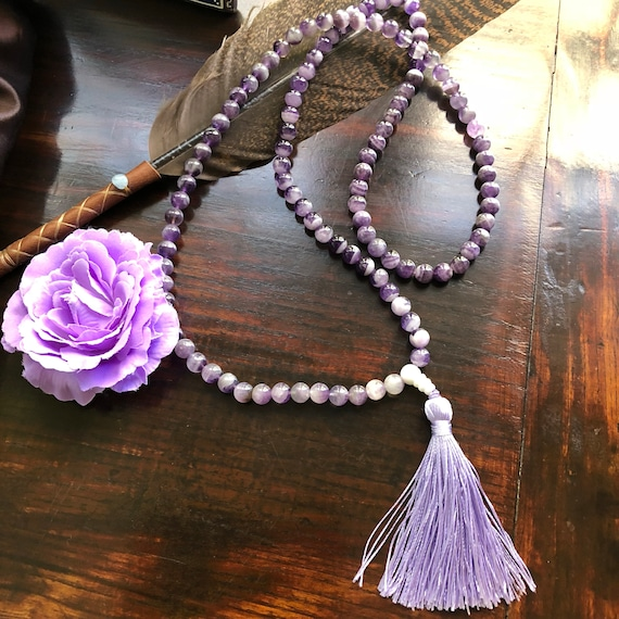 Transformation Mala natural amethyst beads  and tassel