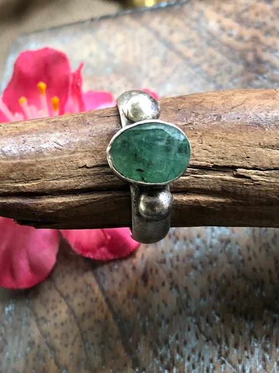 Vintage sterling and raw emerald solitaire stack ring size 6