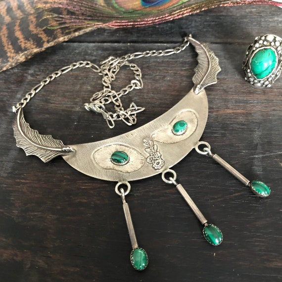 Vintage Tribal malachite and sterling necklace