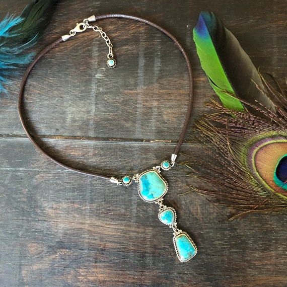 Vintage turquoise sterling leather choker