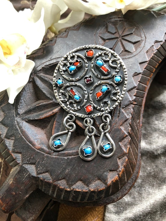 Vintage Mexican taxco  Sterling,turquoise,coral and amethyst pendant /pin