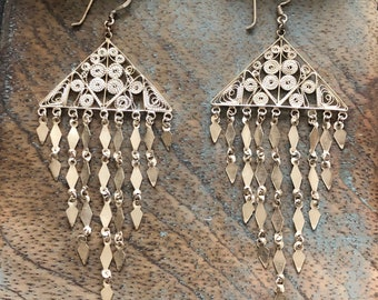 Vintage sterling filigree chandelier earrings